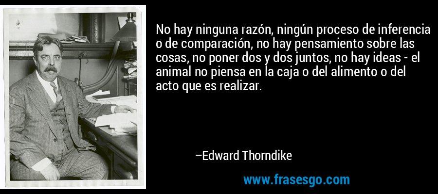 No hay ninguna razón, ningún proceso de inferencia o de comparación, no hay pensamiento sobre las cosas, no poner dos y dos juntos, no hay ideas - el animal no piensa en la caja o del alimento o del acto que es realizar. – Edward Thorndike