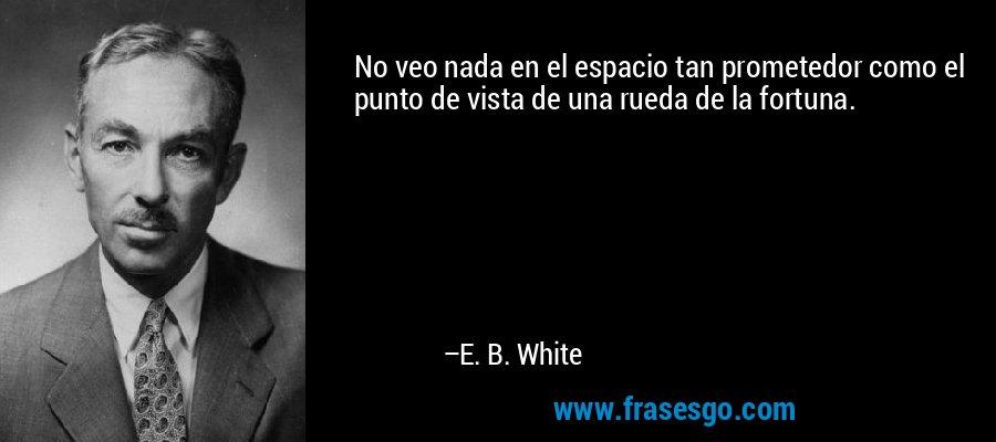 No veo nada en el espacio tan prometedor como el punto de vista de una rueda de la fortuna. – E. B. White