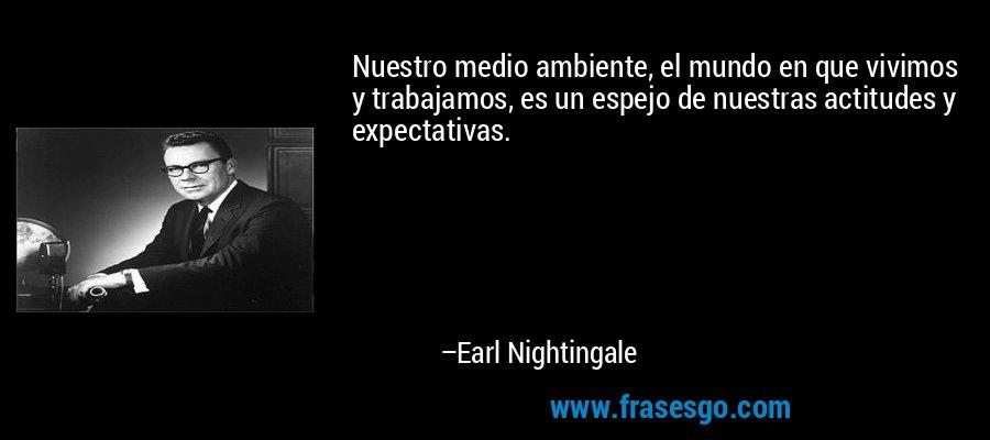 Nuestro medio ambiente, el mundo en que vivimos y trabajamos, es un espejo de nuestras actitudes y expectativas. – Earl Nightingale