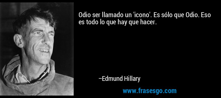 Odio ser llamado un 'icono'. Es sólo que Odio. Eso es todo lo que hay que hacer. – Edmund Hillary