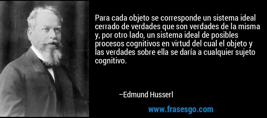 Para cada objeto se corresponde un sistema ideal cerrado de verdades que son verdades de la misma y, por otro lado, un sistema ideal de posibles procesos cognitivos en virtud del cual el objeto y las verdades sobre ella se daría a cualquier sujeto cognitivo. – Edmund Husserl