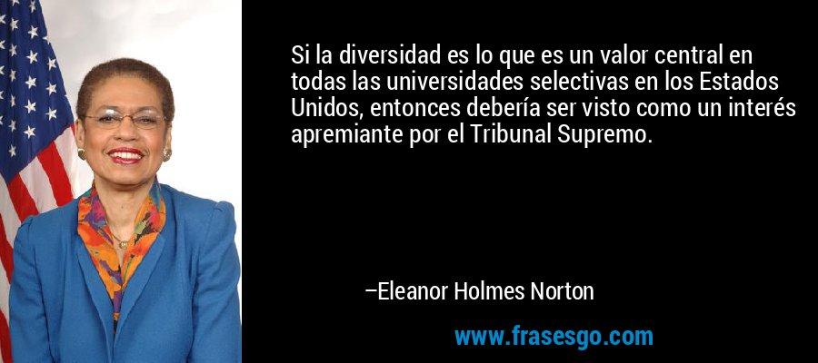 Si la diversidad es lo que es un valor central en todas las universidades selectivas en los Estados Unidos, entonces debería ser visto como un interés apremiante por el Tribunal Supremo. – Eleanor Holmes Norton