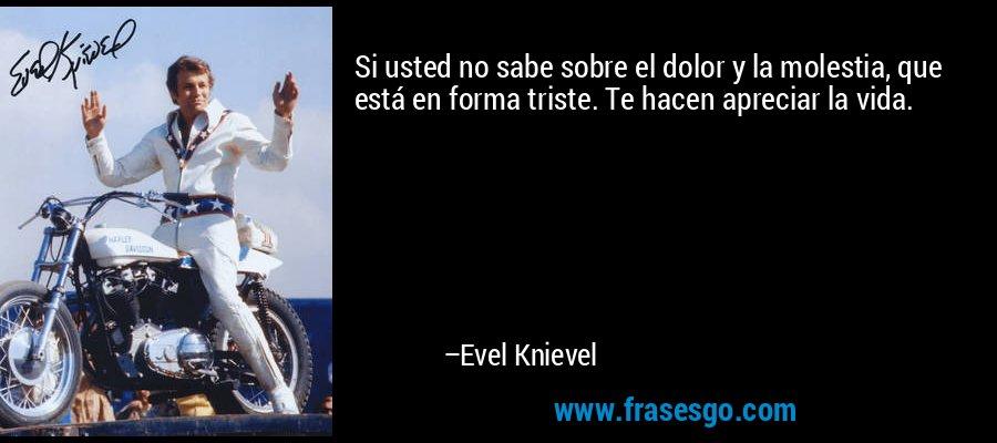 Si usted no sabe sobre el dolor y la molestia, que está en forma triste. Te hacen apreciar la vida. – Evel Knievel