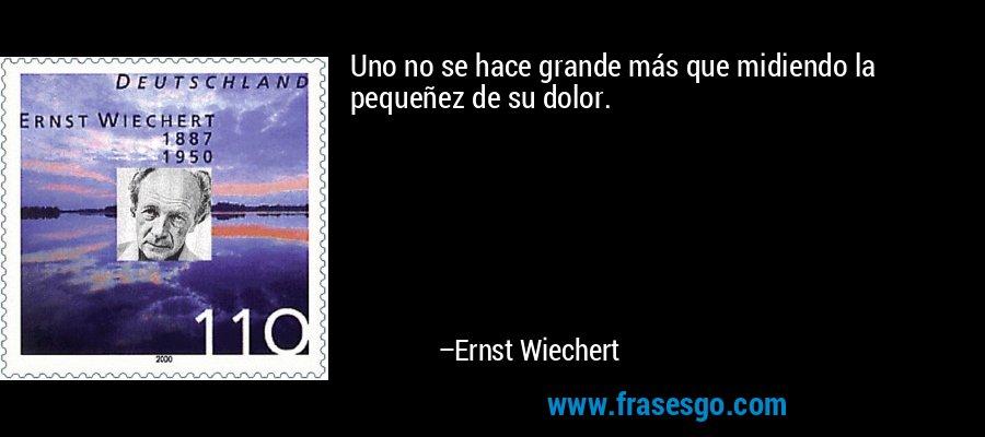 Uno no se hace grande más que midiendo la pequeñez de su dolor. – Ernst Wiechert