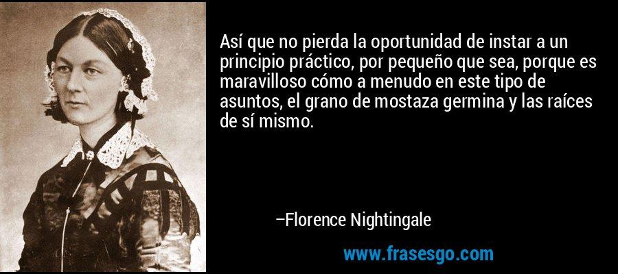 Así que no pierda la oportunidad de instar a un principio práctico, por pequeño que sea, porque es maravilloso cómo a menudo en este tipo de asuntos, el grano de mostaza germina y las raíces de sí mismo. – Florence Nightingale