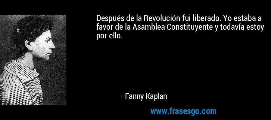 Después de la Revolución fui liberado. Yo estaba a favor de la Asamblea Constituyente y todavía estoy por ello. – Fanny Kaplan