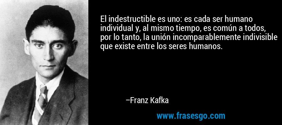 El indestructible es uno: es cada ser humano individual y, al mismo tiempo, es común a todos, por lo tanto, la unión incomparablemente indivisible que existe entre los seres humanos. – Franz Kafka