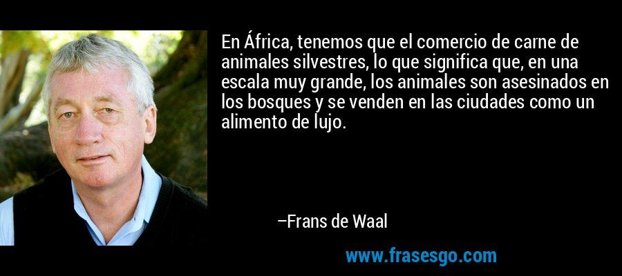 En África, tenemos que el comercio de carne de animales silvestres, lo que significa que, en una escala muy grande, los animales son asesinados en los bosques y se venden en las ciudades como un alimento de lujo. – Frans de Waal