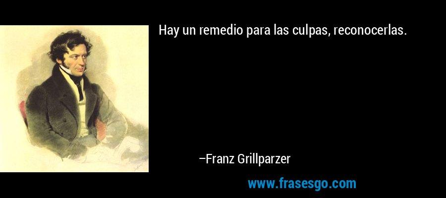 Hay un remedio para las culpas, reconocerlas. – Franz Grillparzer