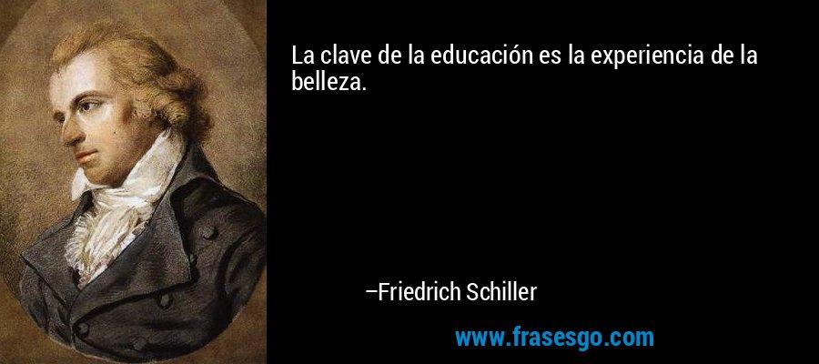 La clave de la educación es la experiencia de la belleza. – Friedrich Schiller