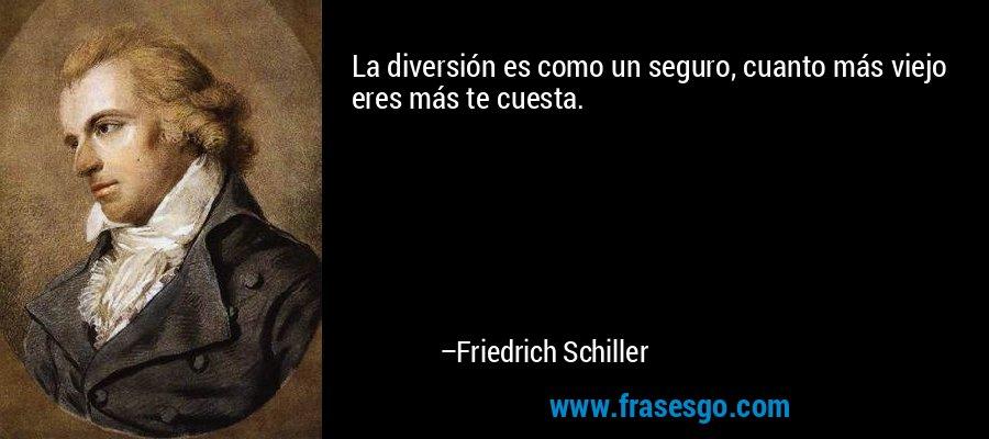 La diversión es como un seguro, cuanto más viejo eres más te cuesta. – Friedrich Schiller