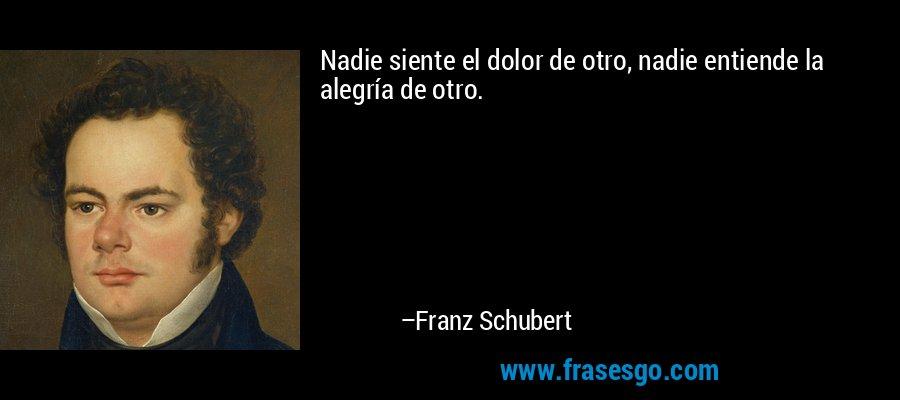Nadie siente el dolor de otro, nadie entiende la alegría de otro. – Franz Schubert