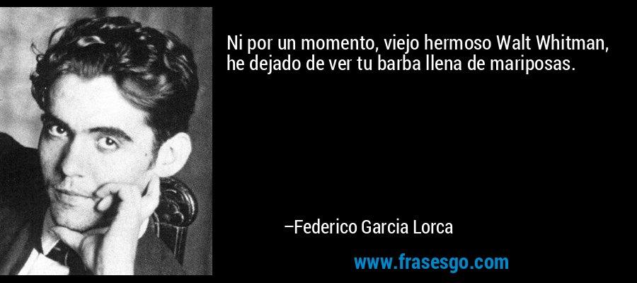 Ni por un momento, viejo hermoso Walt Whitman, he dejado de ver tu barba llena de mariposas. – Federico Garcia Lorca