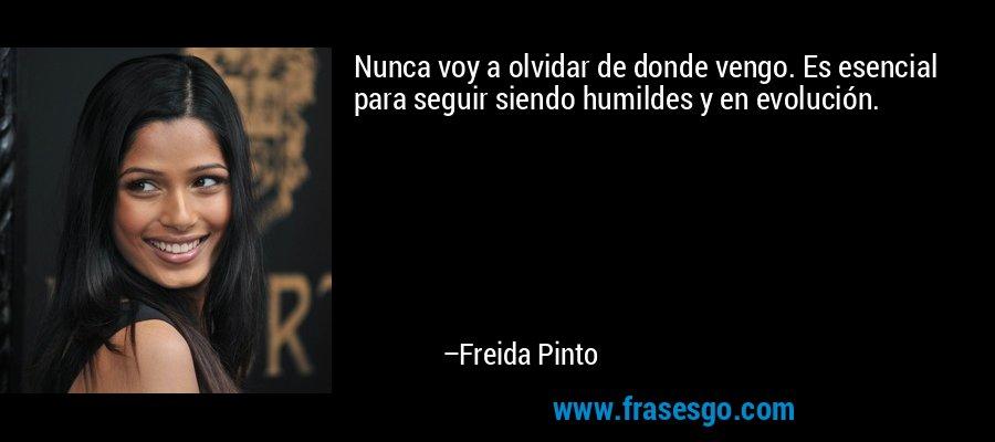 Nunca voy a olvidar de donde vengo. Es esencial para seguir siendo humildes y en evolución. – Freida Pinto