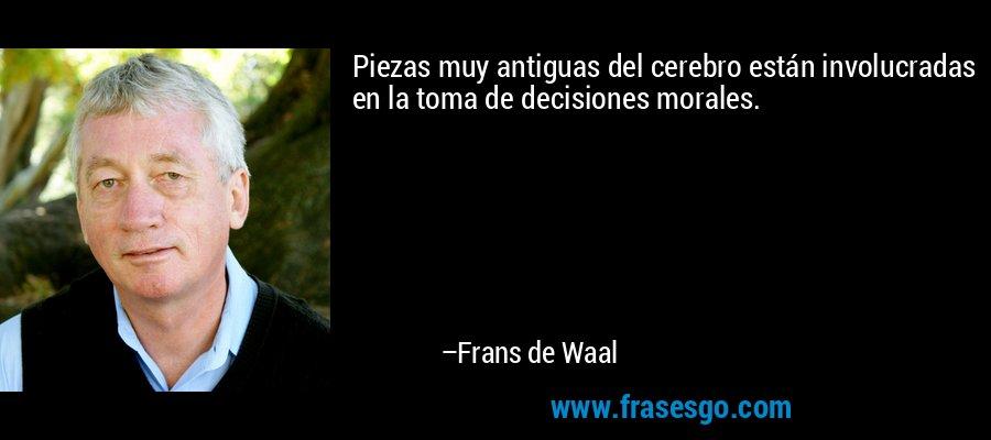 Piezas muy antiguas del cerebro están involucradas en la toma de decisiones morales. – Frans de Waal
