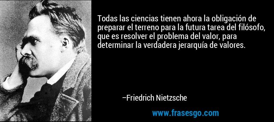 Todas las ciencias tienen ahora la obligación de preparar el terreno para la futura tarea del filósofo, que es resolver el problema del valor, para determinar la verdadera jerarquía de valores. – Friedrich Nietzsche