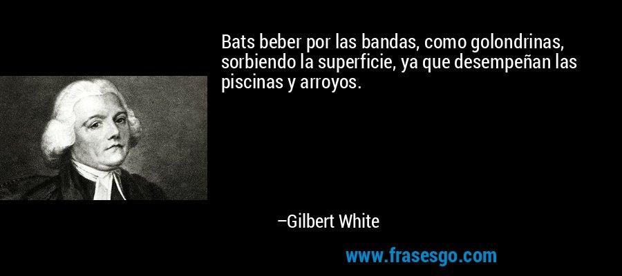 Bats beber por las bandas, como golondrinas, sorbiendo la superficie, ya que desempeñan las piscinas y arroyos. – Gilbert White