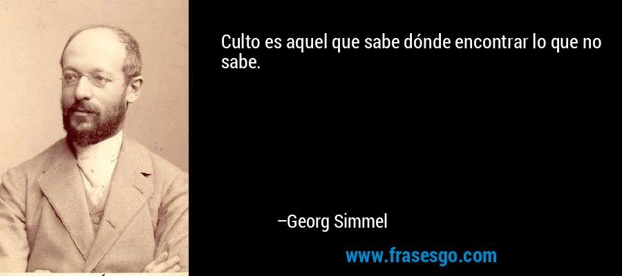 Culto es aquel que sabe dónde encontrar lo que no sabe. – Georg Simmel