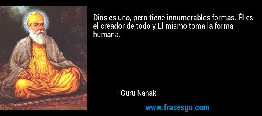 Dios es uno, pero tiene innumerables formas. Él es el creador de todo y Él mismo toma la forma humana. – Guru Nanak