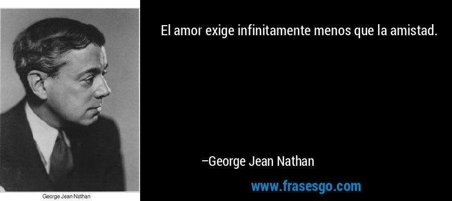 El amor exige infinitamente menos que la amistad. – George Jean Nathan