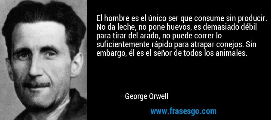 El hombre es el único ser que consume sin producir. No da leche, no pone huevos, es demasiado débil para tirar del arado, no puede correr lo suficientemente rápido para atrapar conejos. Sin embargo, él es el señor de todos los animales. – George Orwell