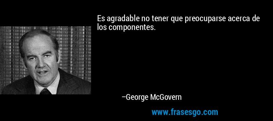 Es agradable no tener que preocuparse acerca de los componentes. – George McGovern