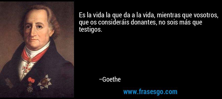 Es la vida la que da a la vida, mientras que vosotros, que os consideráis donantes, no sois más que testigos. – Goethe