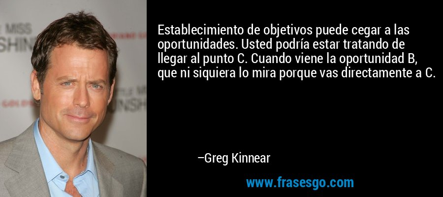 Establecimiento de objetivos puede cegar a las oportunidades. Usted podría estar tratando de llegar al punto C. Cuando viene la oportunidad B, que ni siquiera lo mira porque vas directamente a C. – Greg Kinnear