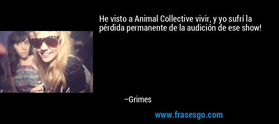 He visto a Animal Collective vivir, y yo sufrí la pérdida permanente de la audición de ese show! – Grimes