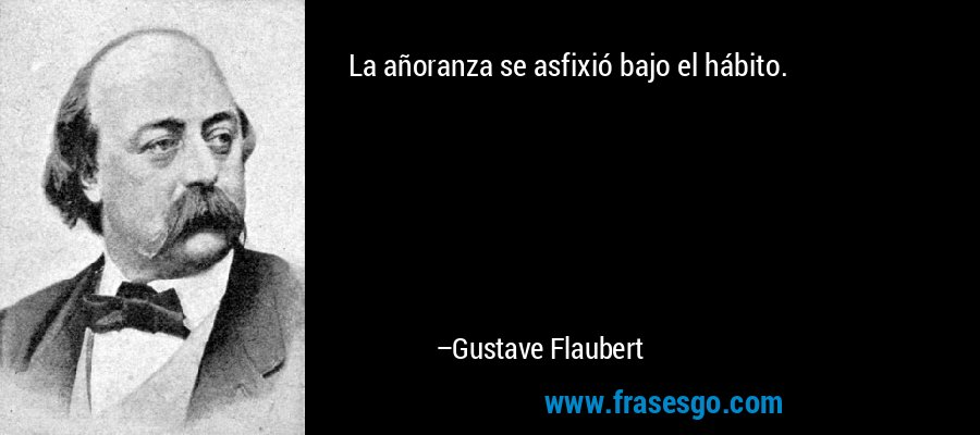 La añoranza se asfixió bajo el hábito. – Gustave Flaubert