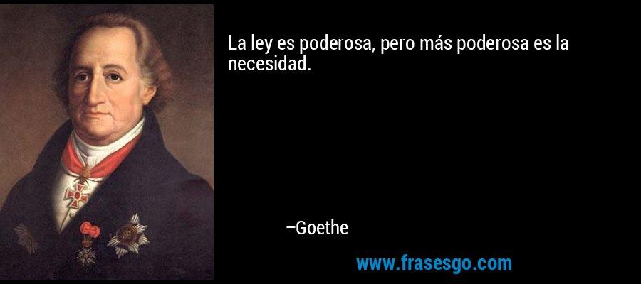 La ley es poderosa, pero más poderosa es la necesidad. – Goethe