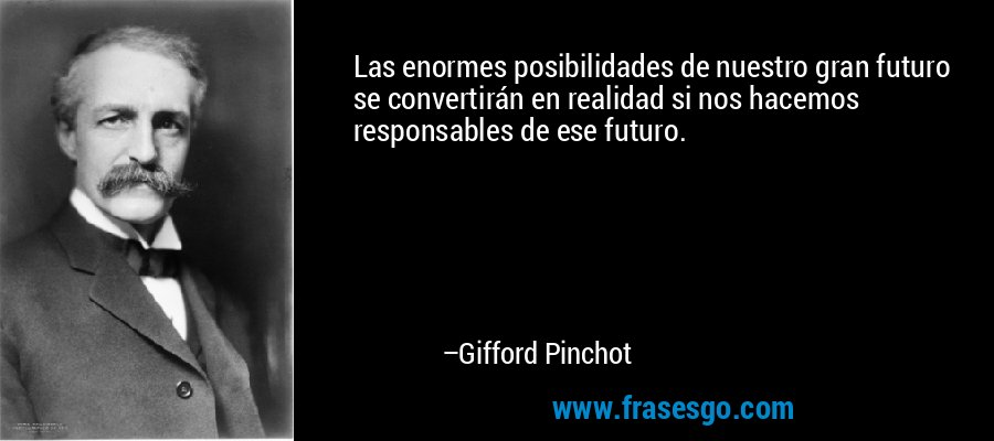 Las enormes posibilidades de nuestro gran futuro se convertirán en realidad si nos hacemos responsables de ese futuro. – Gifford Pinchot