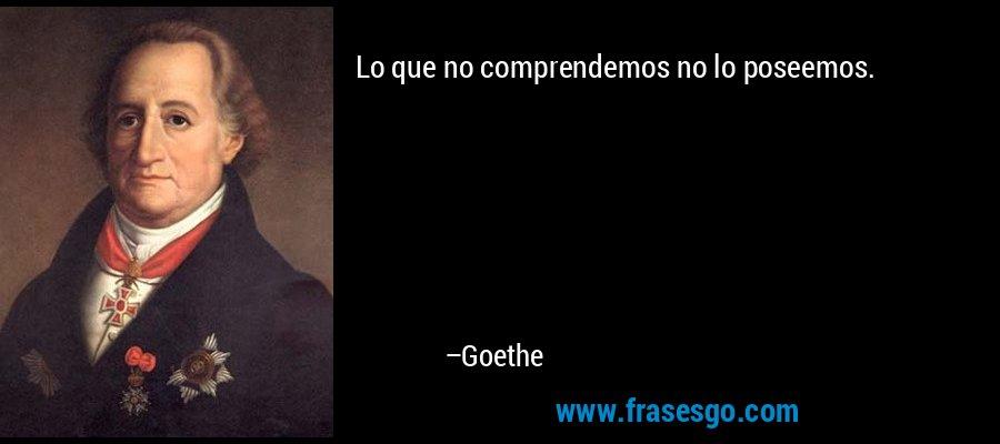 Lo que no comprendemos no lo poseemos. – Goethe