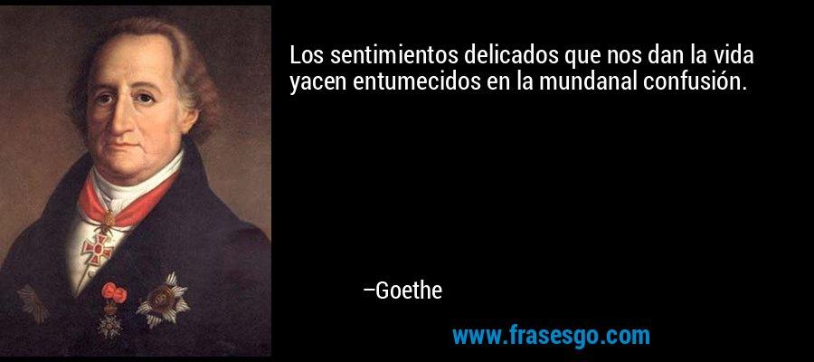 Los sentimientos delicados que nos dan la vida yacen entumecidos en la mundanal confusión. – Goethe