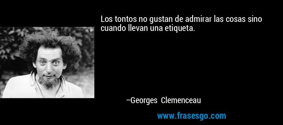 Los tontos no gustan de admirar las cosas sino cuando llevan una etiqueta. – Georges Clemenceau