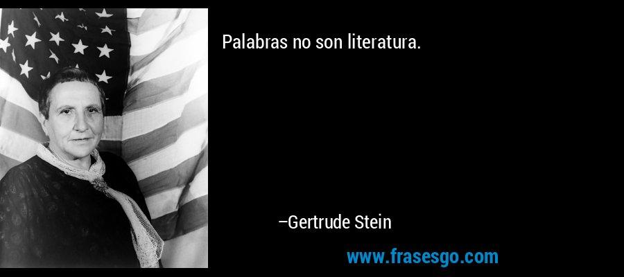 Palabras no son literatura. – Gertrude Stein