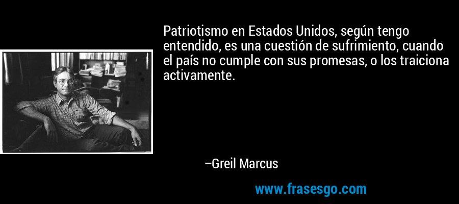 Patriotismo en Estados Unidos, según tengo entendido, es una cuestión de sufrimiento, cuando el país no cumple con sus promesas, o los traiciona activamente. – Greil Marcus