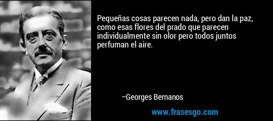 Pequeñas cosas parecen nada, pero dan la paz, como esas flores del prado que parecen individualmente sin olor pero todos juntos perfuman el aire. – Georges Bernanos