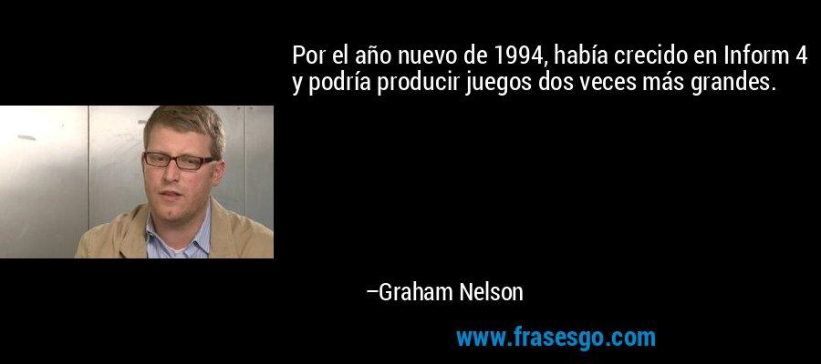 Por el año nuevo de 1994, había crecido en Inform 4 y podría producir juegos dos veces más grandes. – Graham Nelson