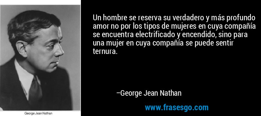 Un hombre se reserva su verdadero y más profundo amor no por los tipos de mujeres en cuya compañía se encuentra electrificado y encendido, sino para una mujer en cuya compañía se puede sentir ternura. – George Jean Nathan