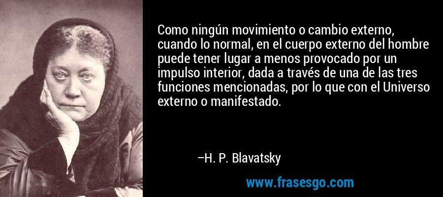 Como ningún movimiento o cambio externo, cuando lo normal, en el cuerpo externo del hombre puede tener lugar a menos provocado por un impulso interior, dada a través de una de las tres funciones mencionadas, por lo que con el Universo externo o manifestado. – H. P. Blavatsky