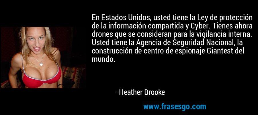En Estados Unidos, usted tiene la Ley de protección de la información compartida y Cyber. Tienes ahora drones que se consideran para la vigilancia interna. Usted tiene la Agencia de Seguridad Nacional, la construcción de centro de espionaje Giantest del mundo. – Heather Brooke