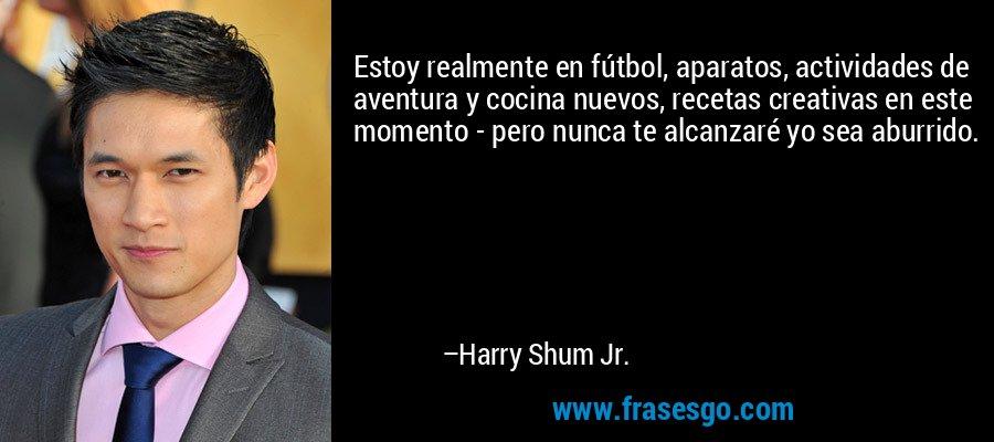 Estoy realmente en fútbol, aparatos, actividades de aventura y cocina nuevos, recetas creativas en este momento - pero nunca te alcanzaré yo sea aburrido. – Harry Shum Jr.