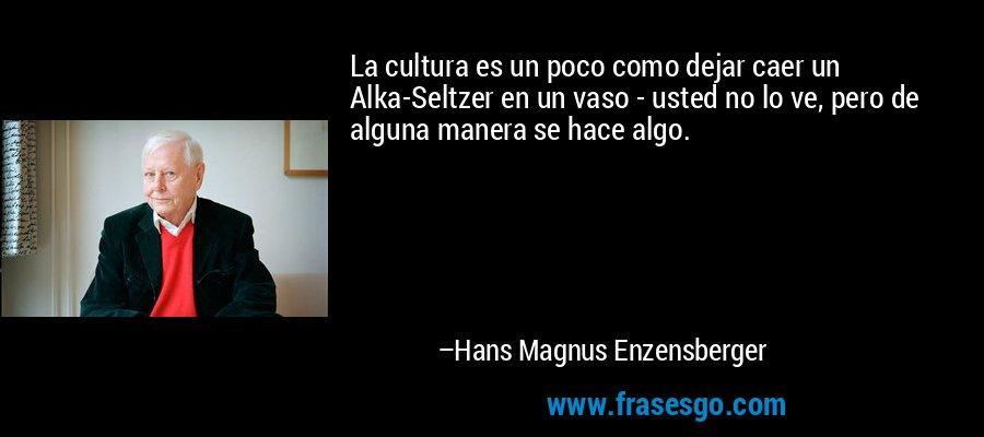 La cultura es un poco como dejar caer un Alka-Seltzer en un vaso - usted no lo ve, pero de alguna manera se hace algo. – Hans Magnus Enzensberger