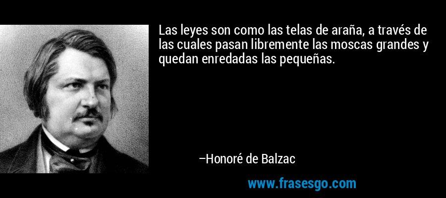 Las leyes son como las telas de araña, a través de las cuales pasan libremente las moscas grandes y quedan enredadas las pequeñas. – Honoré de Balzac