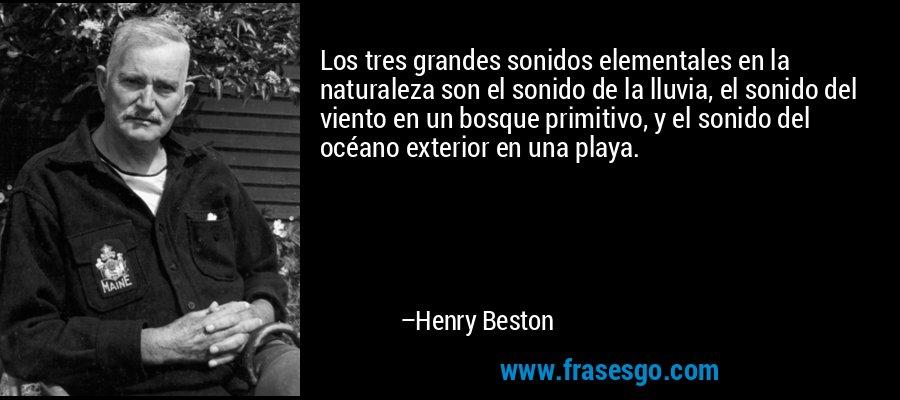 Los tres grandes sonidos elementales en la naturaleza son el sonido de la lluvia, el sonido del viento en un bosque primitivo, y el sonido del océano exterior en una playa. – Henry Beston