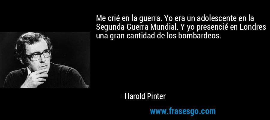 Me crié en la guerra. Yo era un adolescente en la Segunda Guerra Mundial. Y yo presencié en Londres una gran cantidad de los bombardeos. – Harold Pinter