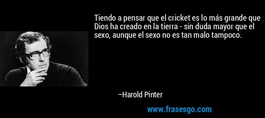 Tiendo a pensar que el cricket es lo más grande que Dios ha creado en la tierra - sin duda mayor que el sexo, aunque el sexo no es tan malo tampoco. – Harold Pinter