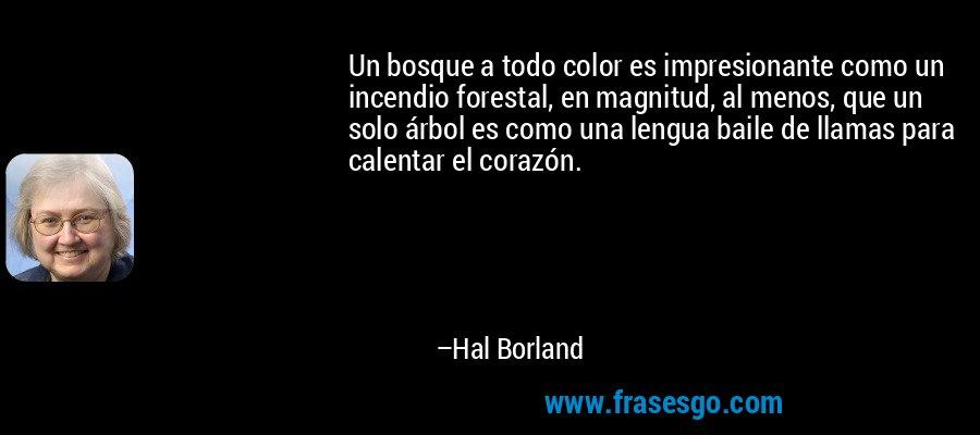 Un bosque a todo color es impresionante como un incendio forestal, en magnitud, al menos, que un solo árbol es como una lengua baile de llamas para calentar el corazón. – Hal Borland