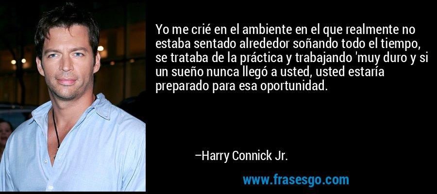 Yo me crié en el ambiente en el que realmente no estaba sentado alrededor soñando todo el tiempo, se trataba de la práctica y trabajando 'muy duro y si un sueño nunca llegó a usted, usted estaría preparado para esa oportunidad. – Harry Connick Jr.